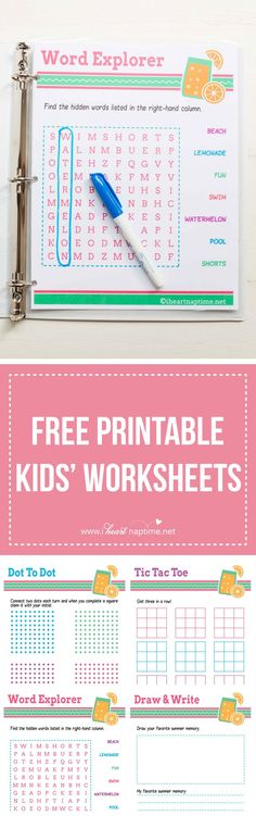 FREE PRINTABLE kids' worksheets ...perfect for putting in a binder for road…