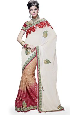 Cream Colour Pue Bamber, Viscos Designer Party Wear Saree on Sale Buy Apparel
