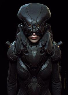 Sci-Fi Cyborg and Creature Art by Ali Zafati