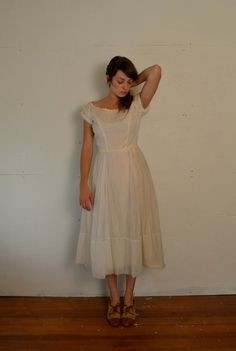 1950s Cream Flowy Dress. $96.00, via Etsy.