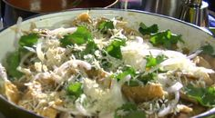 Chilaquiles for a Crowd by Rick Bayless! This is probably my favorite Mexican dish like ever! It may not look good but my dad always made it with cheddar cheese instead of white and its delicious!