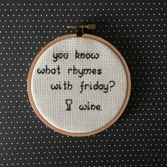 Friday wine cross stitch embroidery art by SasssyStitcher on Etsy