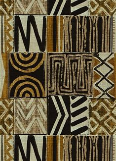 African inspired gold and black grey mud cloth print fabric for creative window treatments, upholstery or bedding. From designers at Covington NY Fabrics. African Tribal Patterns, African Textiles, African Fabric, African Prints, Arte Tribal, Tribal Art, Textures Patterns, Fabric Patterns, Floral Patterns