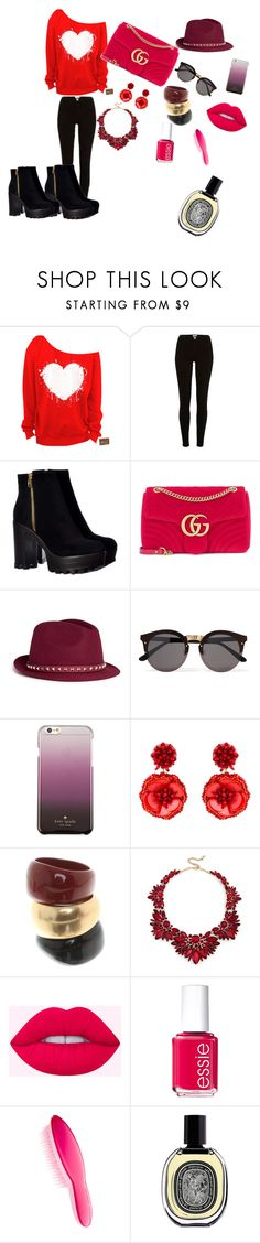 """Bez naslova #75"" by hilda-vi ❤ liked on Polyvore featuring River Island, Gucci, Valentino, Illesteva, Kate Spade, Mignonne Gavigan, Salvatore Ferragamo, Sole Society, Essie and Tangle Teezer"