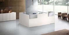 white lacquer reception desk - Google Search