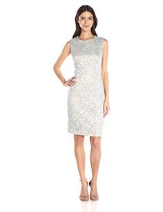 Carmen Marc Valvo Infusion Women's S/L Allover Lace Sheath W. Beaded Accents