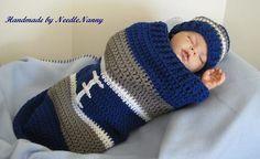 Dallas Cowboy Baby Cocoon Football Cocoon & Hat by NeedleNanny, $37.00