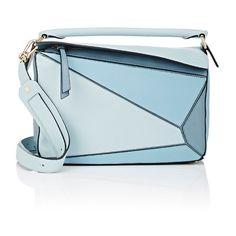 "LOEWE Women's \""Puzzle\"" Medium Shoulder Bag ($2,450) ❤ liked on Polyvore featuring bags, handbags, shoulder bags, blue, flap crossbody, crossbody shoulder bag, foldover crossbody, blue purse and blue crossbody purse"