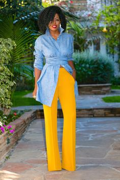 Here is Yellow Pants Outfit Ideas for you. Yellow Pants Outfit how to wear purple pantsstylish outfit ideas who what wear. Black Women Fashion, Look Fashion, Daily Fashion, Fashion Outfits, Fashion Design, Classy Outfits, Stylish Outfits, Cute Outfits, Urban Chic