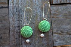 Green Kimono earrings Chirimen Button earrings by CocoBAYCON