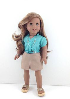 """18T Sweeet and Sassy - Blouse, Skirt, Belt and Sandals for 18"""" dolls like American Girl (R) Luciana, Lea, Tenney, Grace, McKenna and Kit"""