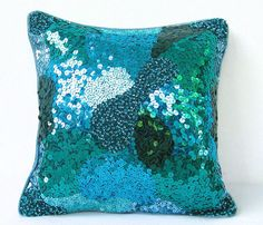 Sequin Pillow Cover Green Throw Pillow Throw by TheHomeCorner