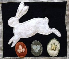 Wool Pillows, Wool Rug, Primitive Stitchery, Felted Wool Crafts, Wool Quilts, Easter Peeps, Felt Embroidery, Bunny Rabbits, Penny Rugs
