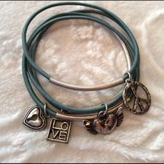 ⭐️ Teal stretchy bracelets heart peace love Hardly worn. Make an offer or bundle to save! I do NOT trade or hold. ⭐️Eligible for 3 for $20 bundle deal. Jewelry