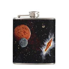 """SPACE (design 7) """"SPACIAL RIFT"""" small flask Hip Flask  Original paintings can be found for sale through my Amazon store at: http://www.amazon.com/shops/artmatrix or you can make direct arrangements for them through me. JMO Zazzle designs: http://www.zazzle.com/thewhippingpost?rf=238063263784323237 To help an artist, you can donate here: http://www.gofundme.com/6am6lg"""
