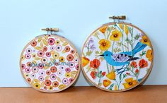 Sunshine embroidery hoop set wall art set wall by SqueezeCuddles, $81.00