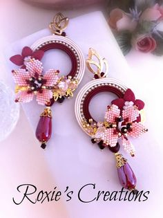 Red and white hoop earrings hanging summer earrings maxi earrings with cherry blossoms porcelain drop earrings Made in Italy OOAK Jewelry Design Earrings, Bead Jewellery, Seed Bead Earrings, Beaded Earrings, Earrings Handmade, Handmade Jewelry, Hoop Earrings, Beaded Jewelry Patterns, Fabric Jewelry
