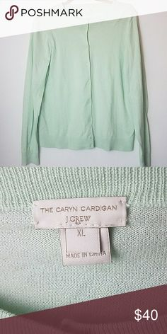 "J.Crew Factory cardigan Mint XL The Caryn Cardigan sweater- J.Crew Factory sweater- XL- color: mint- gently worn, worn once, doesn't fit anymore-  Measurements  (laying flat) Bust: 19.5"" Sleeve: 25""  Any questions please feel free to ask.  Thank you for visiting my Poshmark closet. J. Crew Factory Sweaters Cardigans"