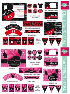 Disney Mickey and Minnie Party Printables plus 20 FREE Disney Printables - Crafts, Coloring, Planning, Creativity and More on Frugal Coupon Living.