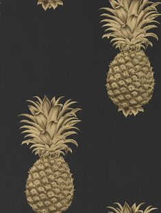 Pineapple Royale by Sanderson - Graphite / Gold - Wallpaper : Wallpaper Direct Gold Pineapple Wallpaper, Gold Wallpaper, Print Wallpaper, Tapete Gold, Stunning Wallpapers, Contemporary Wallpaper, Tape Art, Exotic Fruit, Baroque