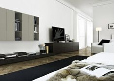Sectional lacquered TV wall system SINTESI By Poliform design Carlo Colombo Living Room Wall Units, Living Room With Fireplace, Living Room Trends, Living Room Modern, Interior Walls, Living Room Interior, Planchers En Chevrons, Dining Furniture, Furniture Design