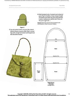 Pattern for miniature handbag.