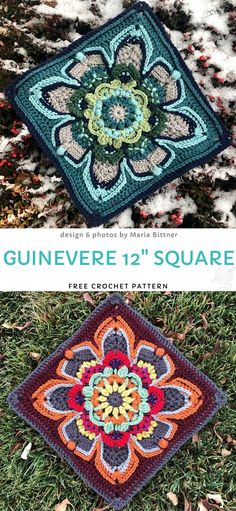How to Crochet Guinevere Square Guinevere Square Free Crochet Pattern Ms. Guinevere is such an elegant, crochet-loving lady! Crochet Afghans, Crochet Squares Afghan, Granny Square Crochet Pattern, Crochet Blocks, Crochet Granny, Crochet Motif, Crochet Flowers, Fabric Flowers, Knit Crochet