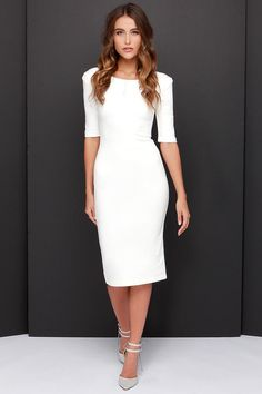 LULUS Exclusive We Built This Midi Ivory Midi Dress