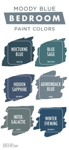 This moody blue color palette from BEHR is perfect for your bedroom. Choose from dark blue hues like Hidden Sapphire, Intergalactic, and Winter Evening to create a dramatic color scheme in your home. Use the ColorSmart tool to test out the look of a new color palette before you ever start painting.