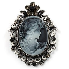 Vintage Crystal Cameo Brooch (Antique Silver Tone) - main view
