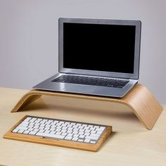 SAMDI laptop Computer Wooden Stand Dock Holder Bamboo Keyboard Stand for iMac PC Notebook Laptop: Computers & Accessories Wooden Laptop Stand, Wood Arch, Bent Wood, Office Essentials, Bluetooth Keyboard, Laptop Accessories, Wooden Signs, How To Memorize Things, Notebook Laptop