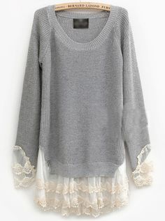 Pretty Lace Round Neck Gray Sweater
