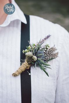 rustic thistle buttonhole by jenny Fleur for a vintage wedding shoot with Rachel Lilly photography
