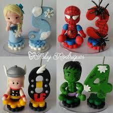 mini-topinhos-com-vela-homem-aranha. Number Cake Toppers, Fondant Cake Toppers, Cupcake Cakes, Fondant Numbers, Fondant Letters, Polymer Clay Projects, Clay Crafts, Diy And Crafts, Superhero Cake