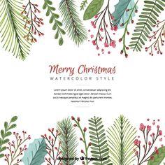 Fundo do Natal com folhas de aquarela Vetor grátis