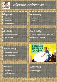 Schoonmaakrooster Organised Mum, Cleaning Schedule Printable, House Chores, Craft Images, Housekeeping Tips, Desperate Housewives, Family Planning, Free Prints, Life Planner