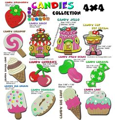 Candy Collection Machine Embroidery designs  #embroidery #strawberry #kitchen #candy #MachineEmbroidery #food #IceCream Embroidery Software, Machine Embroidery Designs, Strawberry Kitchen, Cherry Candy, Star Stitch, Jelly Beans, One Design, Icecream, Happy Mothers Day
