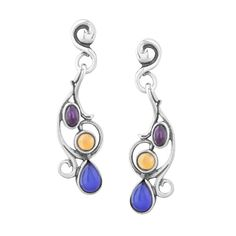 Carolyn Pollack Scroll Dangle Earrings -SummerBrights Amethyst, Blue Chalcedony and Citrine