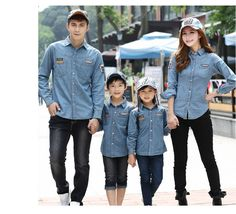 New 2014 Matching Family Jean Shirts Father Son Blouse Clothes Mother and Daughter Denim Casual Long ...