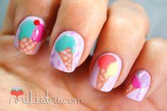 Ice cream- perfect nails for summer Kawaii Nail Art, Cute Nail Art, Manicure, Diy Nails, Love Nails, Pretty Nails, Dimond Nails, Unicorn Nail Art, Ice Cream Nails
