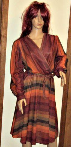 Womens Sz M Dress Sheer Drape Brown Secretary V Neck Striped Mod by Ajax NY | eBay