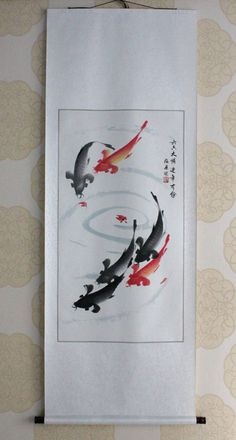 """Asian art Chinese painting hanging scroll """"fengshui koi fishes carps""""@Christmas new year decoration gift collection on Etsy, €35,30"""