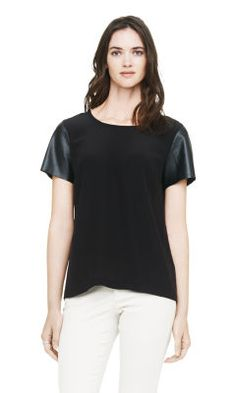 Alessandra Leather Sleeve Top - Club Monaco Short Sleeve - Club Monaco