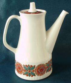 Retro Figgjo Flint 'Astrid' Design Ceramic Teapot Legacy Antiques and Collectibles Ltd Norway Culture, Ceramic Teapots, Chocolate Pots, Vintage Pottery, Dinnerware, Scandinavian, Tea Pots, Retro, Floral Design