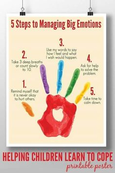 Steps to Managing Big Emotions: Printable Poster A calm down plan to help children of all ages learn to manage big emotions in socially acceptable ways.A calm down plan to help children of all ages learn to manage big emotions in socially acceptable ways. Emotional Regulation, Emotional Development, Child Development, School Social Work, School Counseling Office, Elementary Counseling, Career Counseling, School Counselor, Elementary Schools