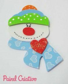 E.V.A. Moldes e Idéias: Enfeites natalinos feitos com E.V.A Kids Christmas Ornaments, Christmas Crafts For Kids, Xmas Crafts, Felt Christmas, Felt Ornaments, Diy Christmas Gifts, Christmas Time, Christmas Stockings, Diy And Crafts