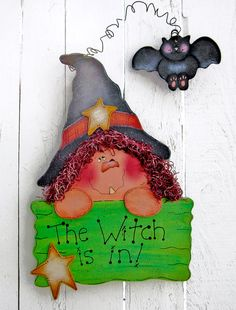 Witch Door Hanger Halloween Decor Witch Decor Bat Decor