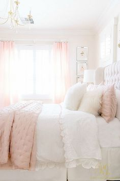 3 Simple Ways to Add Pink to your Home - Randi Garrett Design pink white girl's bedroom - satin pink quilt Pink Bedroom Design, Pink Bedroom Decor, Girl Bedroom Designs, Bedroom Colors, Bedroom Girls, Light Pink Bedrooms, Blush Pink Bedroom, Bedroom Decor Elegant, Cream And Pink Bedroom