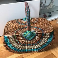 Woven gathering basket, Egg basket with oak wood hoops in black, white, bronze and seagrass Wicker Picnic Basket, Wicker Baskets, Basket Weaving, Hand Weaving, Big Basket, Basket Ball, Wooden Hoop, Gifts For Girls, Houston