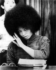 Angela Davis, political activist, scholar, and author. Her membership in the Communist Party led to Ronald Reagan's request in 1969 to have her barred from teaching at any university in the State of California. Her research interests are in feminism, African American studies, critical theory, Marxism, popular music, social consciousness, and the philosophy and history of punishment and prisons.